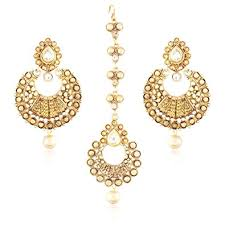 gold plated earrings buy i jewels traditional gold plated earring set with maang tikka