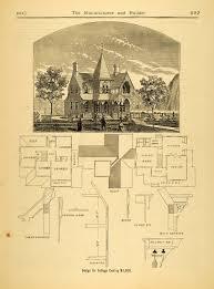 1874 print victorian cottage architecture design floor plan sketch