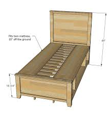 Plans For A Twin Platform Bed Frame by Inspiring Twin Bed Plans With Storage And Best 25 Diy Storage Bed
