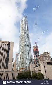 building of pace university and beekman tower by frank gehry in building of pace university and beekman tower by frank gehry in new york city stock