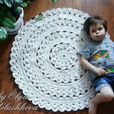 Round Pink Rug For Nursery White Rug Nursery Rug Crochet Rug Baby Rugs Round Rug Home