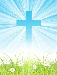cross on blue sky with sun rays and green lawn stock vector