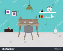 study room furniture interior design vector stock vector 621547076
