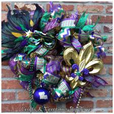 mardi gras bead wreath mardi gras wreath fleur de lis wreath from createdbyterri on
