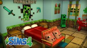 sims 4 room build minecraft themed bedroom youtube