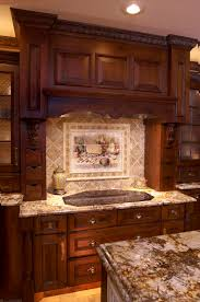Marble Subway Tile Kitchen Backsplash Accessories Astounding Cream Wooden Cabinet With Brown Marble