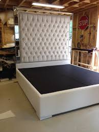 White Leather Bed Frame King White Leather Bed High Headboard Intended For Faux King Size