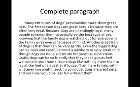 completed paragraph example youtube