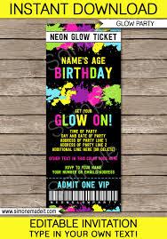 neon glow party ticket invitation template editable pdf