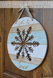 let it snow wooden snowflake aqua snow and doors