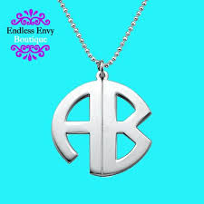 Monogrammed Necklace Sterling Silver Sterling Silver Block Monogram Necklace Monogram Necklace