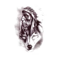 Wolf Indian Tattoos - temporary wolf indian wolf artwear