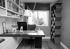 Small Office Space Ideas Ravishing White Floating Shelves Over Black Office Desk In Modern