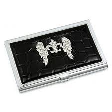 Rhinestone Business Card Holder Card Holder Croc Embossed Leather Like W Rhinestone Fleur De
