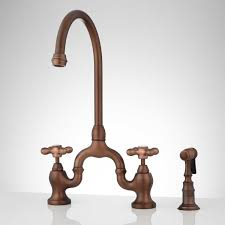 ponticello bridge kitchen faucet with side spray cross handles