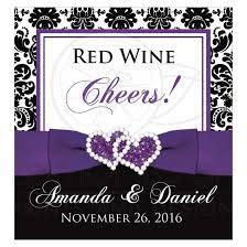 damask ribbon wedding wine bottle label 2 black and white damask purple