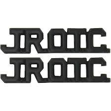 army junior rotc jrotc black metal cut out letters collar device