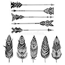 set of arrows and feathers on white background set of ornamental