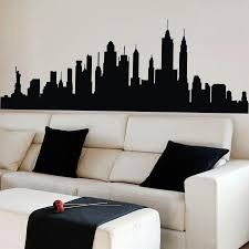 new york city skyline silhouette wall sticker nyc vinyl family new york city skyline silhouette wall sticker nyc vinyl family mural decor black