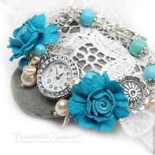 turquoise pearls bracelet images Women 39 s wrist watch bracelet watch with pearls watch with jpg