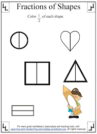 fractions worksheet dividing shapes