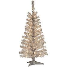 tinsel tree national tree 4 foot silver tinsel tree with plastic