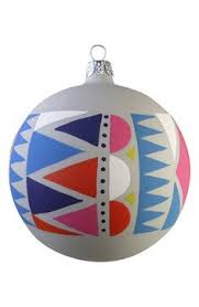 christborn white ball with black geo ornament holidays