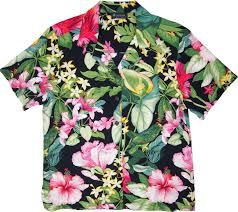 flowers womens black hawaiian shirt