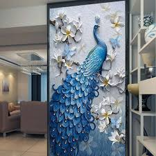 popular wall mural paper buy cheap wall mural paper lots from 3d embossed peacock bird flower hallway photo wallpaper murals bedroom entrance photo wall mural wall paper