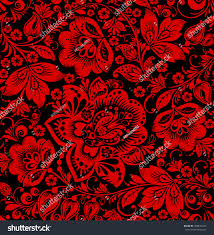 hohloma seamless pattern floral russian ornament stock