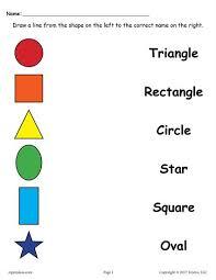 4 free shapes matching worksheets shapes worksheets worksheets