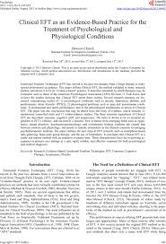 clinical eft as an evidence based practice for the treatment of