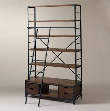 industrial bookcase with ladder home design ideas