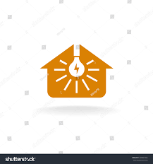House Silhouette by Light Bulb Rays Inside House Silhouette Stock Illustration