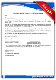 Example Letter Of Resignation Acceptance Of Resignation Letter From Employer To Employee