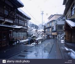 road traffic japanese style hotel town snow steam the shibu onsen