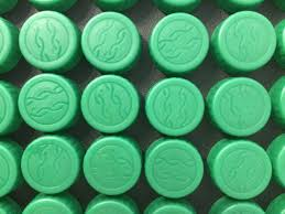 100 count green plastic water bottle caps dasani lids craft