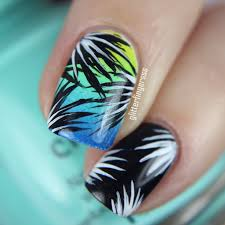 nail art simple tropical glitterfingersss in english