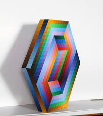 victor vasarely kedzi painted wood sculpture