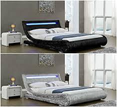 Led Bed Frame Contemporary Designer Curved Velvet Led Bed Frame 4ft6