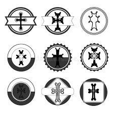 armenian crosses vintage set of crosses armenian cross stock stock vector
