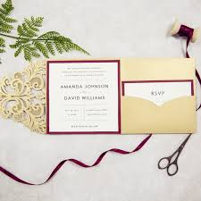 burgundy wedding invitations pocket laser cut wedding invites in gold and burgundy colors