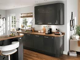 pas cher cuisine cuisine gris anthracite et grise plan de travail noir