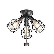 Kichler 370041sbk Industrial Ceiling Fan Light Kit In Satin Black 3