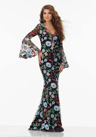 floral embroidered net prom dress with long bell sleeves and open