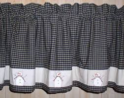 Snowman Curtains Kitchen Americana Plaid Homespun Valance Country Primitive Curtains