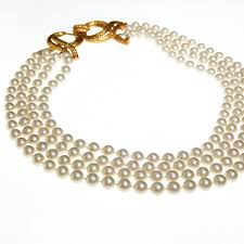 pearl necklace clasps images Geno multi strand pearl necklace with gold decorative clasp jpg