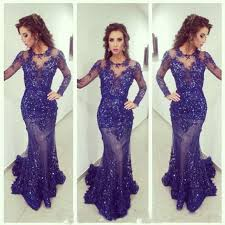 long navy blue prom dress long slevees scoop neck beaded see
