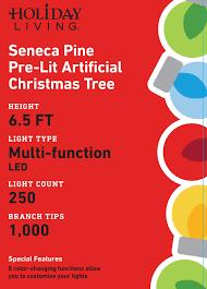 shop holiday living 6 5 ft pre lit seneca pine artificial