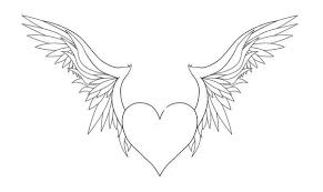 Hearts With Wings - printable with wings coloring pages coloringstar